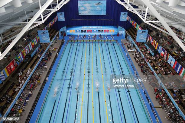 General view of the pool during day 3 of the 6th FINA World Junior Swimming Championships at Indiana University Natatorium on August 25, 2017 in...