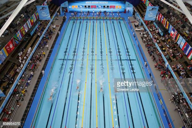 A general view of the pool during day 3 of the 6th FINA World Junior Swimming Championships at Indiana University Natatorium on August 25 2017 in...