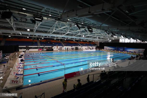 General view of the pool during Day Three of the British Swimming Championships 2019 at Tollcross International Swimming Centre on April 18, 2019 in...
