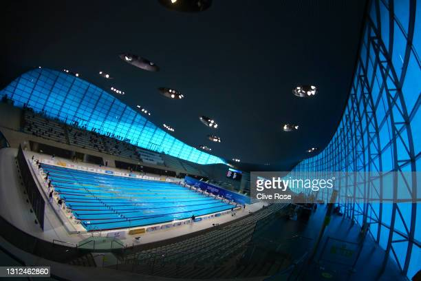 General view of the pool during the morning heats on day one of the British Swimming Selection Trials 2021 at the London Aquatics Centre on April 14,...