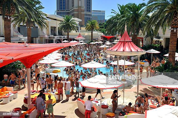 General view of the pool party at the Encore Beach Club at Wynn Las Vegas on August 15, 2014 in Las Vegas, Nevada.