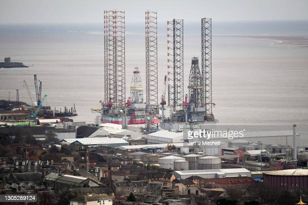General view of the port and dockside area on March 04, 2021 in Dundee, Scotland. The UK Chancellor, Rishi Sunak, announced sites of England's...