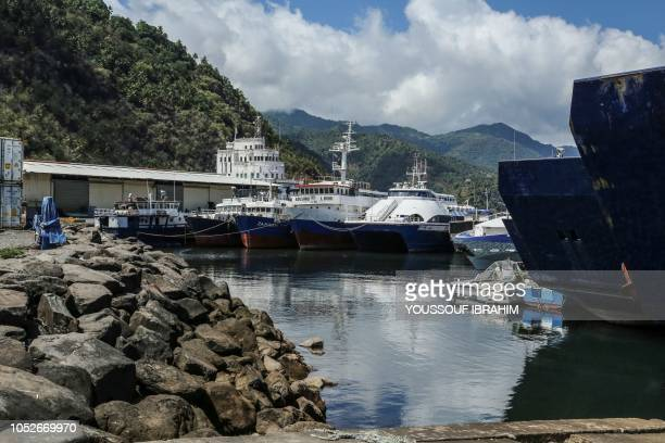 A general view of the port in Mutsamudu on October 21 2018 The Comoros military on October 20 regained control of Mutsamudu's old city centre on the...