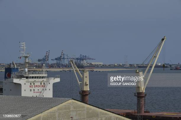 General view of the Port of Abidjan on March 31, 2020. - the port of Abidjan's Director, Hien Sié, on April 1 announced that the traffic in the port...