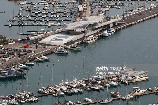 A general view of the port of Salerno south of Italy shows the new maritime terminal designed by IraqiBritish architect Zaha Hadid on April 21 2016...