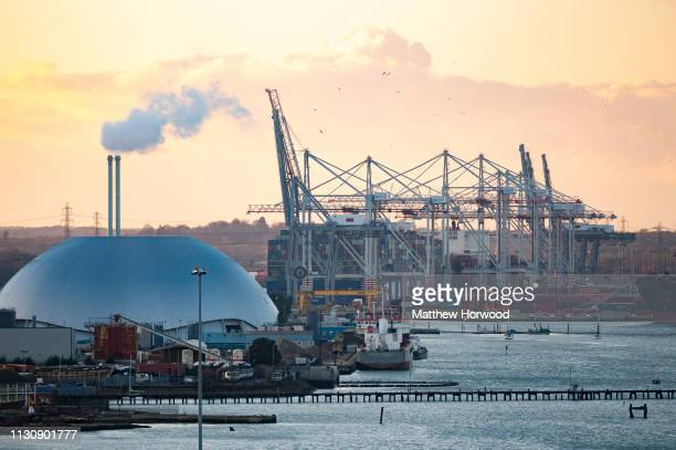 A general view of the Port of Southampton at sunset on February 10 2019 in Southampton England The Port of Southampton is a passenger and cargo port...