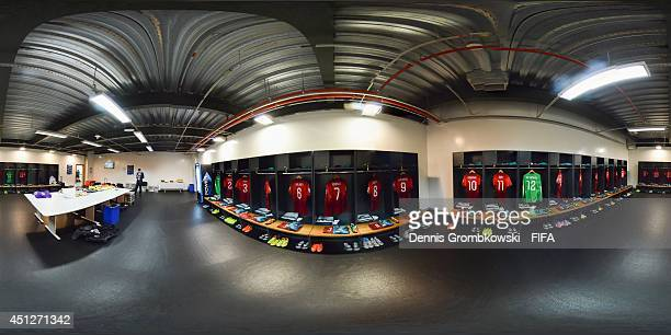 A general view of the Portugal dressing room before the 2014 FIFA World Cup Brazil Group G match between Portugal v Ghana at Estadio Nacional on June...