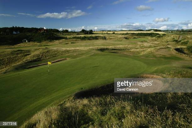 General view of the 'Postage Stamp' par 3, 8th hole taken during a photoshoot held on July 26, 2003 at the Royal Troon Golf Club, venue for the 2004...