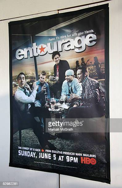 A general view of the poster at Premiere of HBO's series 'Entourage' at El Capitan Theatre on May 25 2005 in Hollywood California