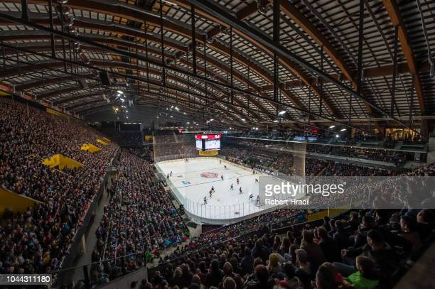 General view of the PostFianance Arena during the NHL Global Series Challenge Switzerland 2018 match between SC Bern and New Jersey Devils at...