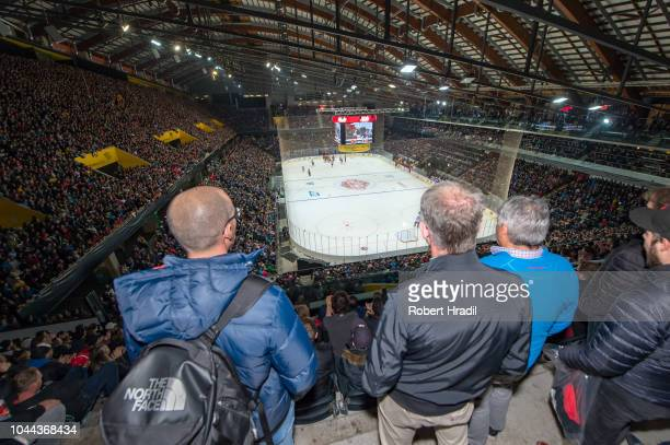 General view of the PostFinance arena during the NHL Global Series Challenge Switzerland 2018 match between SC Bern and New Jersey Devils at...
