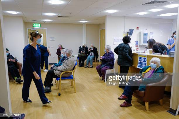 General view of the post-vaccination waiting room at the Bodmin Treatment Centre Covid-19 vaccination clinic on December 17, 2020 in Bodmin, England....