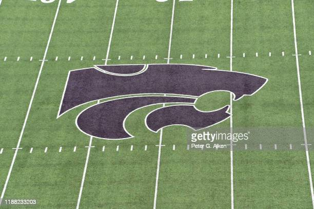 General view of the Power Cat logo on the field at Bill Snyder Family Football Stadium prior to a game between the Kansas State Wildcats and West...
