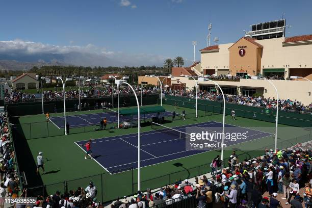 General view of the practice courts as Roger Federer of Switzerland and Rafael Nadal of Spain practice on Day 5 of the BNP Paribas Open at the Indian...