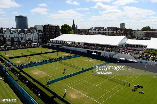A general view of the practice courts during day one of the FeverTree Championships at Queens Club on June 18 2018 in London United Kingdom