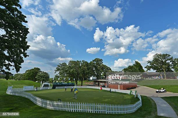 A general view of the practice green and clubhouse after the first round of the Principal Charity Classic at the Wakonda Club on June 3 2016 in Des...