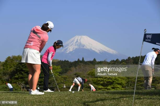 General view of the practice green during the second round of the CyberAgent Ladies Golf Tournament at the Grand Fields Country Club on April 29 2017...