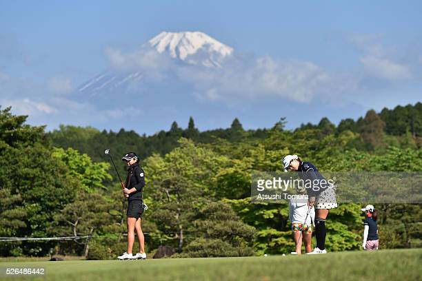 General view of the practice green with Mt Fuji during the second round of the CyberAgent Ladies Golf Tournament at the Grand Fields Country Club on...