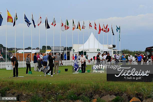 A general view of the practice ground during practice for the Senior Open Championship previews played at Carnoustie on July 20 2016 in Carnoustie...