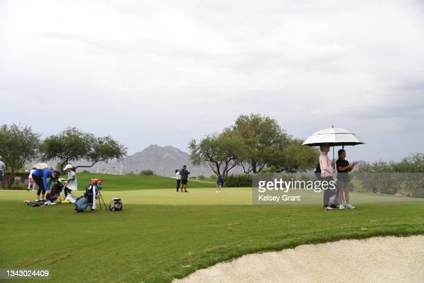 General view of the practice putting area during the 2021 Drive, Chip and Putt Regional Qualifier at TPC Scottsdale on September 26, 2021 in...