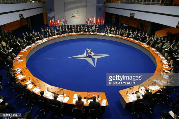 General view of the Prague NATO Summit, 21 November 2002 at Prague's Congress Center. NATO leaders agreed the organisation's biggest ever...