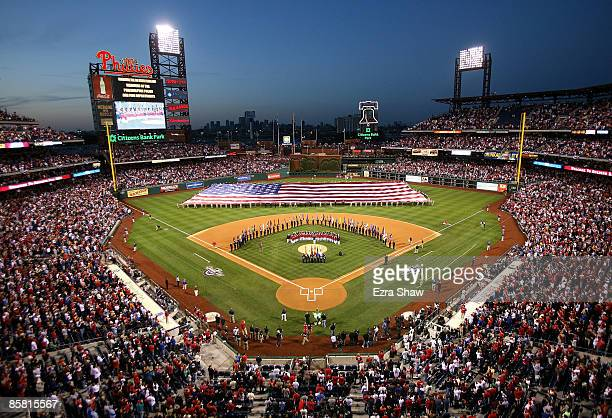 A general view of the pregame festivities before the Philadelphia Phillies game against the Atlanta Braves on April 5 2009 at Citizens Bank Park in...