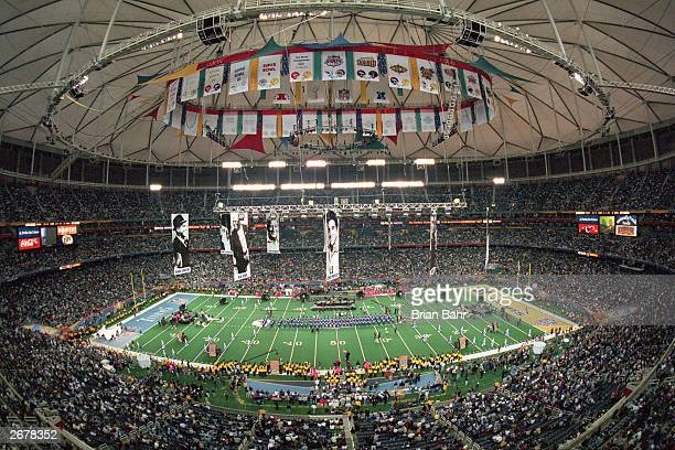 General view of the PreGame Show before Super Bowl XXXIV between the Tennessee Titans and the St Louis Rams at the Georgia Dome on January 30 2000 in...