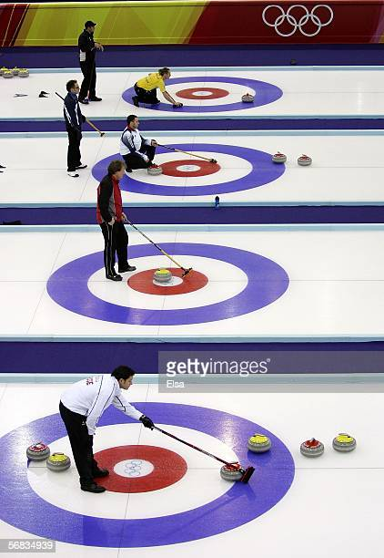 General view of the preliminary round of the men's curling during Day 3 of the Turin 2006 Winter Olympic Games on February 13, 2006 at the Pinerolo...