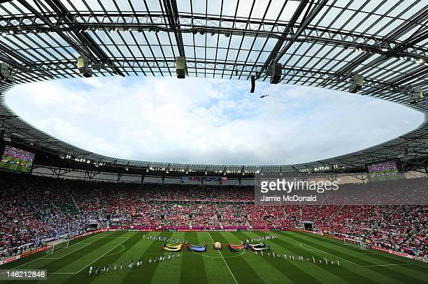 A general view of the prematch entertainment during the UEFA EURO 2012 group A match between Greece and Czech Republic at The Municipal Stadium on...