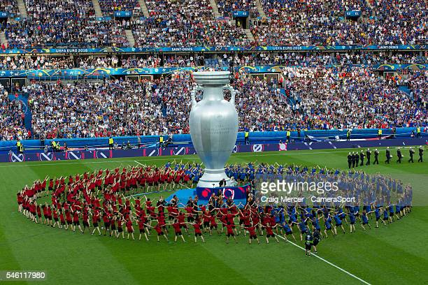 A general view of the prematch entertainment during the UEFA Euro 2016 Final match between Portugal and France at Stade de Lyon on July 10 in Paris...