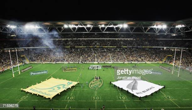 A general view of the prematch entertainment is seen before the Tri Nations series Bledisloe Cup match between the Australian Wallabies and the New...