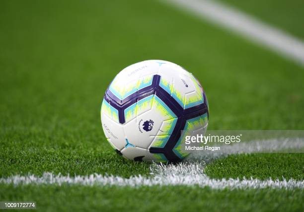 A general view of the Premier League official match ball during the preseason friendly match between Leicester City and Valencia at The King Power...