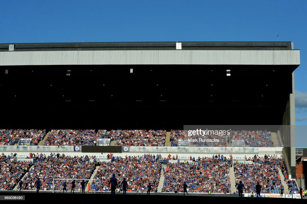 A general view of the Pre-Season Friendly between Rangers and Bury at Ibrox Stadium on July 6, 2018 in Glasgow, Scotland.