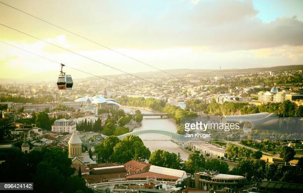 A general view of the Presidential Palace Rike Park Music theatre and exhibition hall and the Bridge of Peace on June 15 2017 in Tbilisi Georgia The...