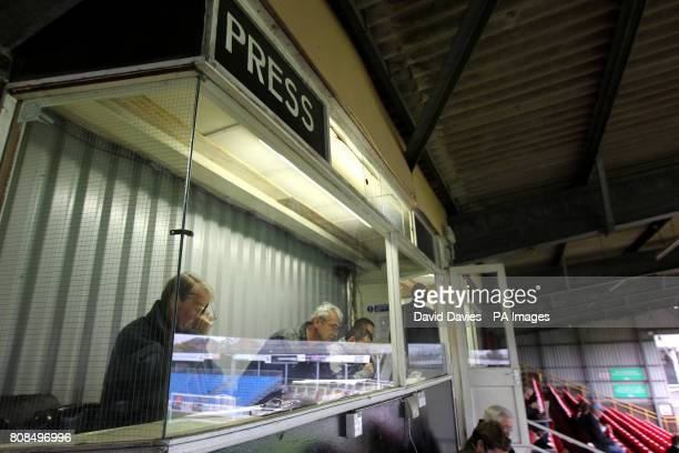 General view of the press box at Edgar Street home of Hereford United FC