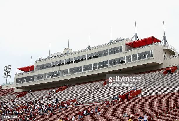 General view of the press box at Los Angeles Memorial Coliseum before the USC Trojans the spring practice game on April 19 2008 in Los Angeles...