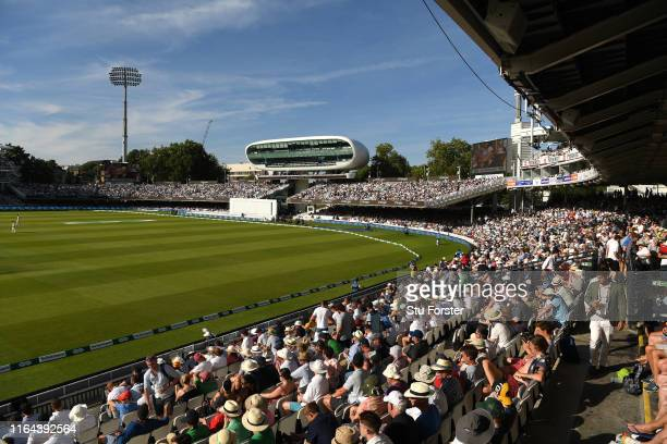 A general view of the Press box at the Nursery end of the ground during day two of the Specsavers Test Match between England and Ireland at Lord's...