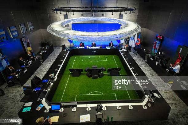 General view of the press conference after the virtual FIFA Council Meeting at the Home of FIFA on June 25, 2020 in Zurich, Switzerland. The virtual...