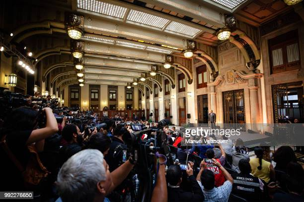 General view of the press conference of the Newly elected President of Mexico, Andres Manuel Lopez Obrador, after a private meeting with Outgoing...