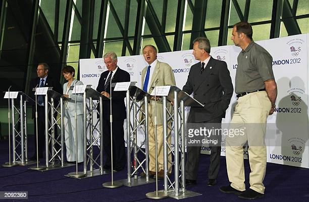 A general view of the press conference showing Richard Caborn MP Tessa Jowell MP Craig Reedie Ken Livingston Simon Clegg and Sir Steven Redgrave...