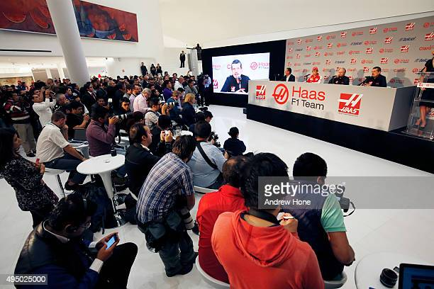 General view of the press conference with Carlos Slim Jr, Team Sponsor, Esteban Gutierrez, Gene Haas, founder and chairman and Guenther Steiner of...