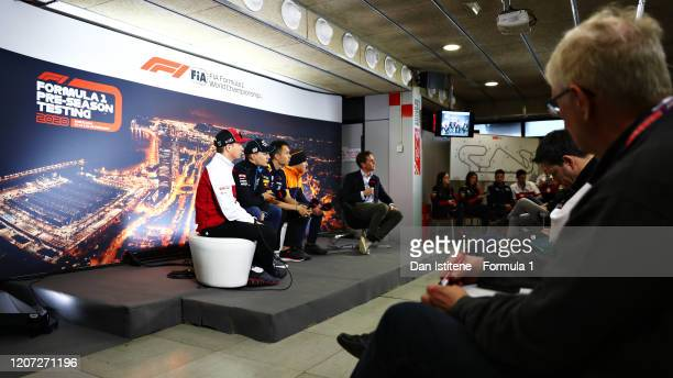 General view of the press conference with Kimi Raikkonen of Finland and Alfa Romeo Racing, George Russell of Great Britain and Williams, Alexander...