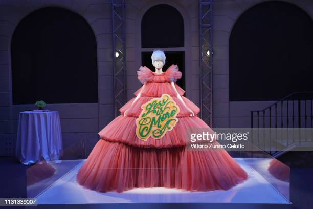"""General view of the Press Event for The Costume Institute's spring 2019 exhibition """"Camp: Notes on Fashion"""" on February 22, 2019 in Milan, Italy."""