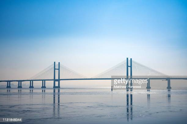 General view of the Prince of Wales Bridge, formerly the Second Severn Crossing that connects England and Wales via the M4 motorway on February 23,...
