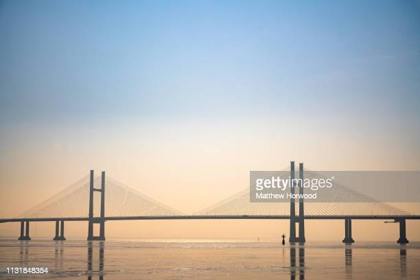 A general view of the Prince of Wales Bridge formerly the Second Severn Crossing that connects England and Wales via the M4 motorway on February 23...