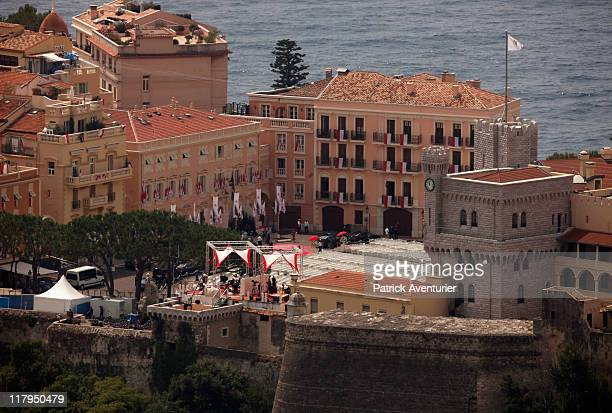A general view of the Prince's Palace of Monaco prior to the religious ceremony of the Royal Wedding of Prince Albert II of Monaco to Princess...
