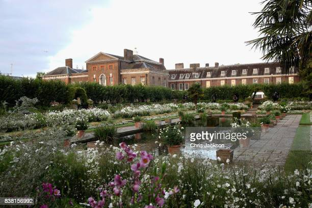 General view of the Princess Diana 'White Garden' at Kensington Palace on August 24, 2017 in London, England. Princess Diana lived at Kensington...