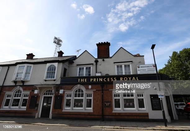 General view of The Princess Royal pub on the corner of the stadium ahead of the Sky Bet Championship Play Off Semifinal 2nd Leg match between...