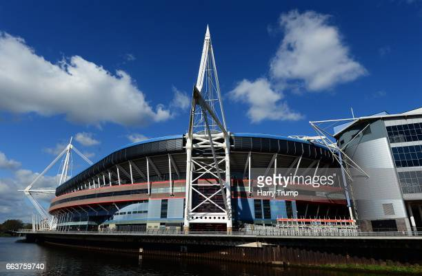 General view of the Principality Stadium during the European Rugby Challenge Cup match between Ospreys and Stade Francais Paris at the Principality...