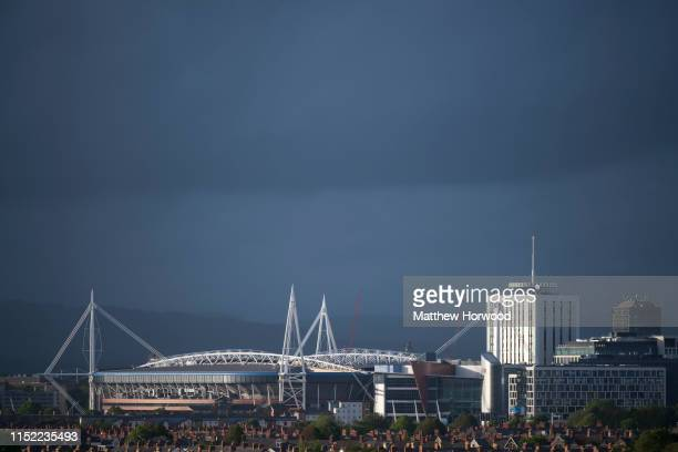 A general view of the Principality Stadium formerly the Millennium Stadium under a dark sky on May 27 2019 in Cardiff United Kingdom